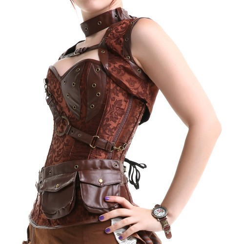corset marrón steampunk mujer