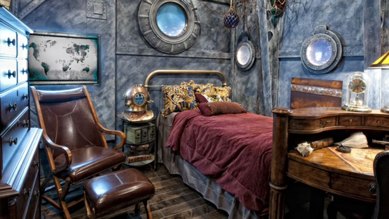 habitación decorada con elementos steampunk
