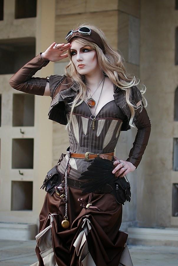 mujer aviadora steampunk disfraz