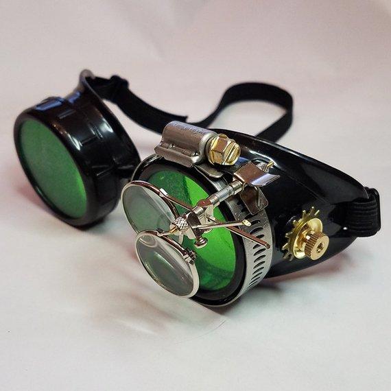 gafas steampunk con cristales verdes