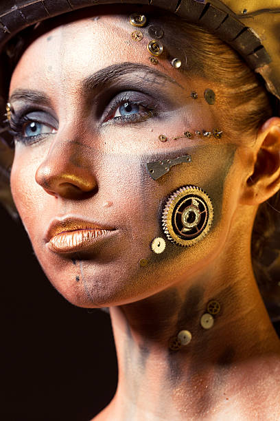 makeup mujer steampunk engranajes