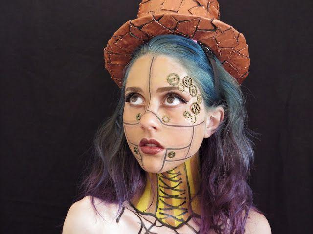 maquillaje steampunk corset cuello mujer