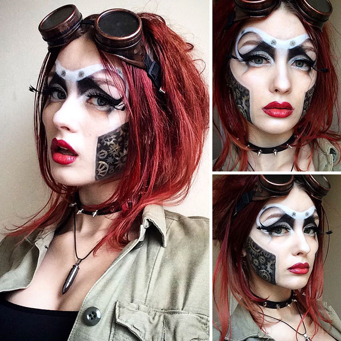 maquillaje mujer estilo steampunk