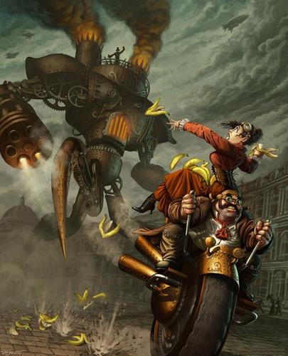 ilustración estilo steampunk