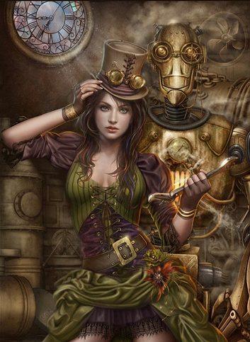 ilustración personaje femenino steampunk