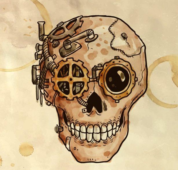calavera steampunk ilustración