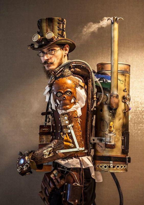 hombre steampunk ilustración