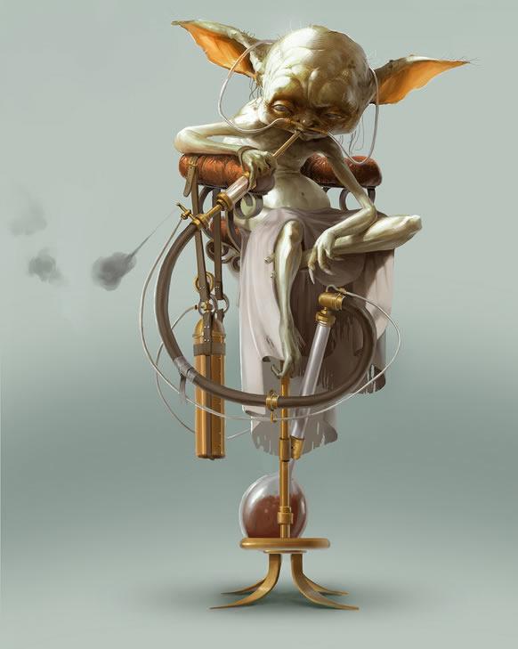 maestro yoda star wars ilustración steampunk
