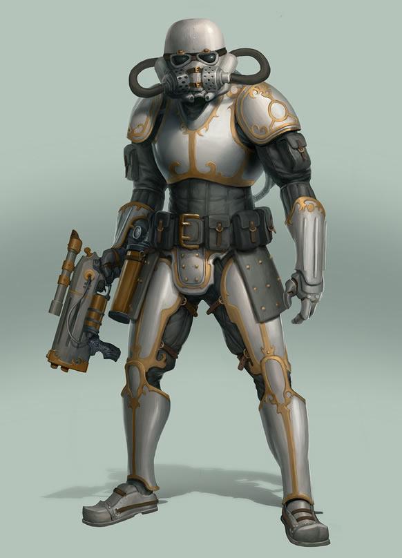 robot star wars ilustración steampunk