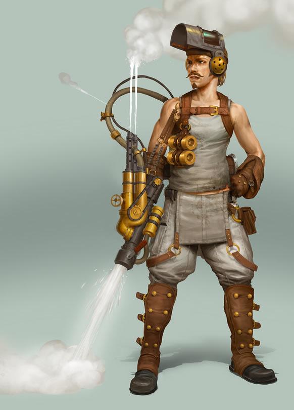 ilustración personaje masculino star wars steampunk