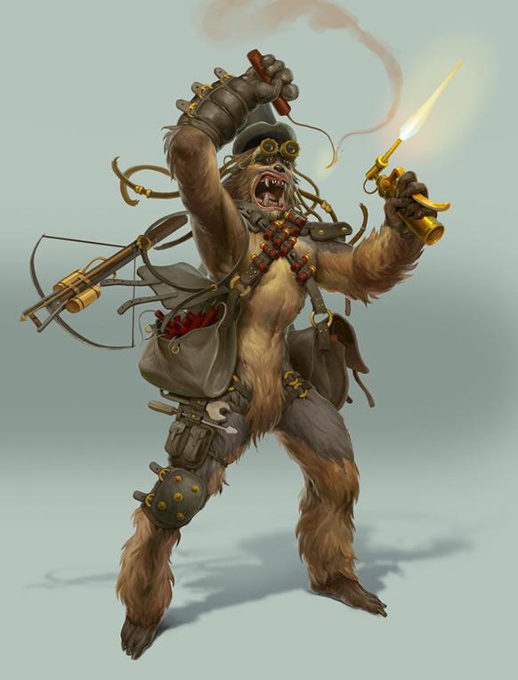 chewbacca star wars ilustración steampunk