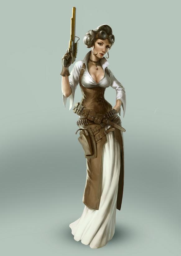 star wars personaje femenino ilustración steampunk