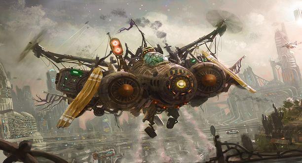 avión steampunk
