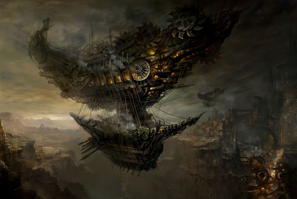 wallpaper barco volador steampunk