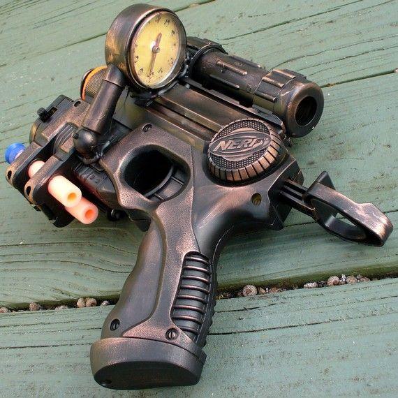 armas steampunk pistola nerf con diseño original