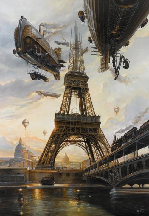 barcos steampunk sobrevolando torre eiffel