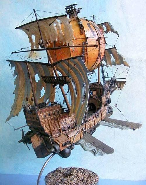 barco steampunk volando