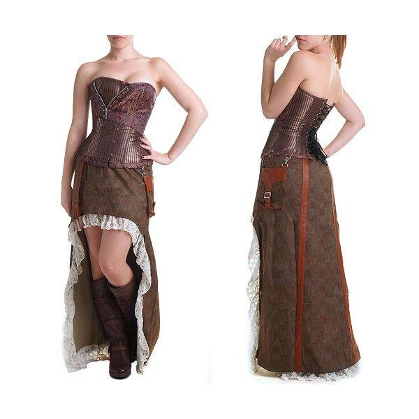 falda steampunk de color marrón
