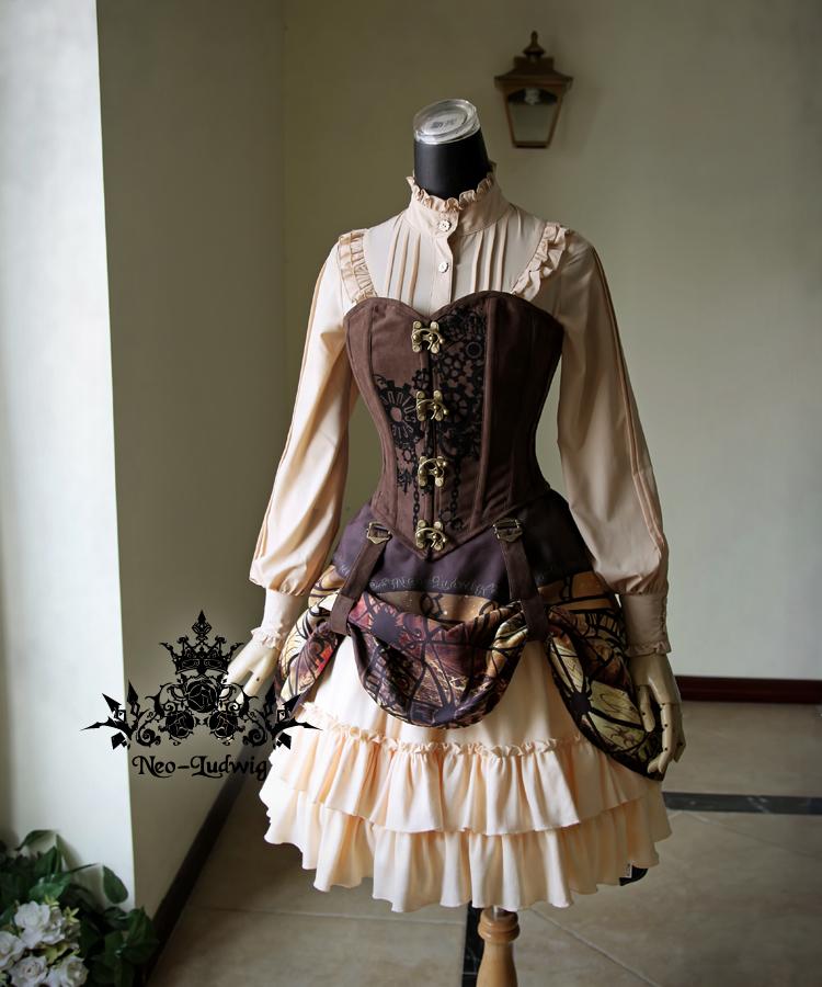falda steampunk con demás prendas