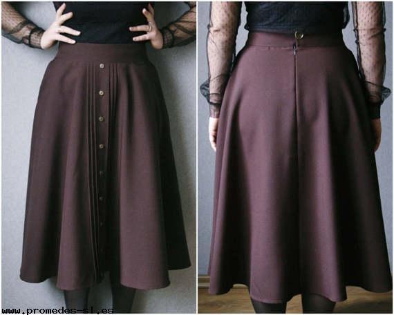falda sencilla de color vinotinto para disfraz steampunk
