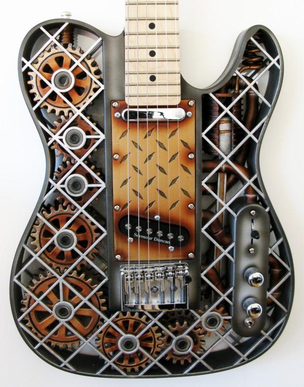 guitarra steampunk color negro