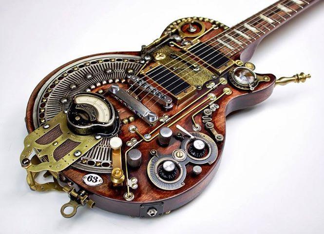 guitarra eléctrica de temática steampunk