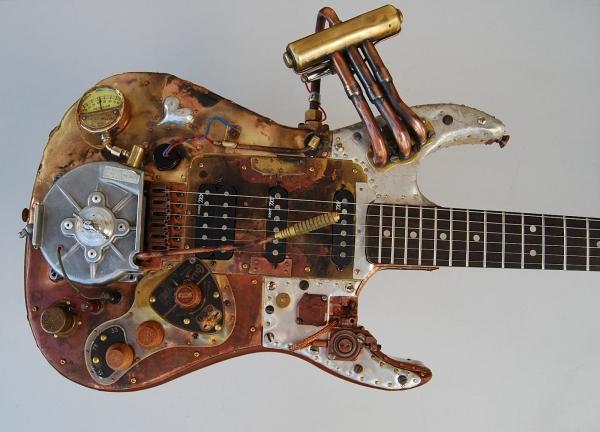 guitarra con temática steampunk