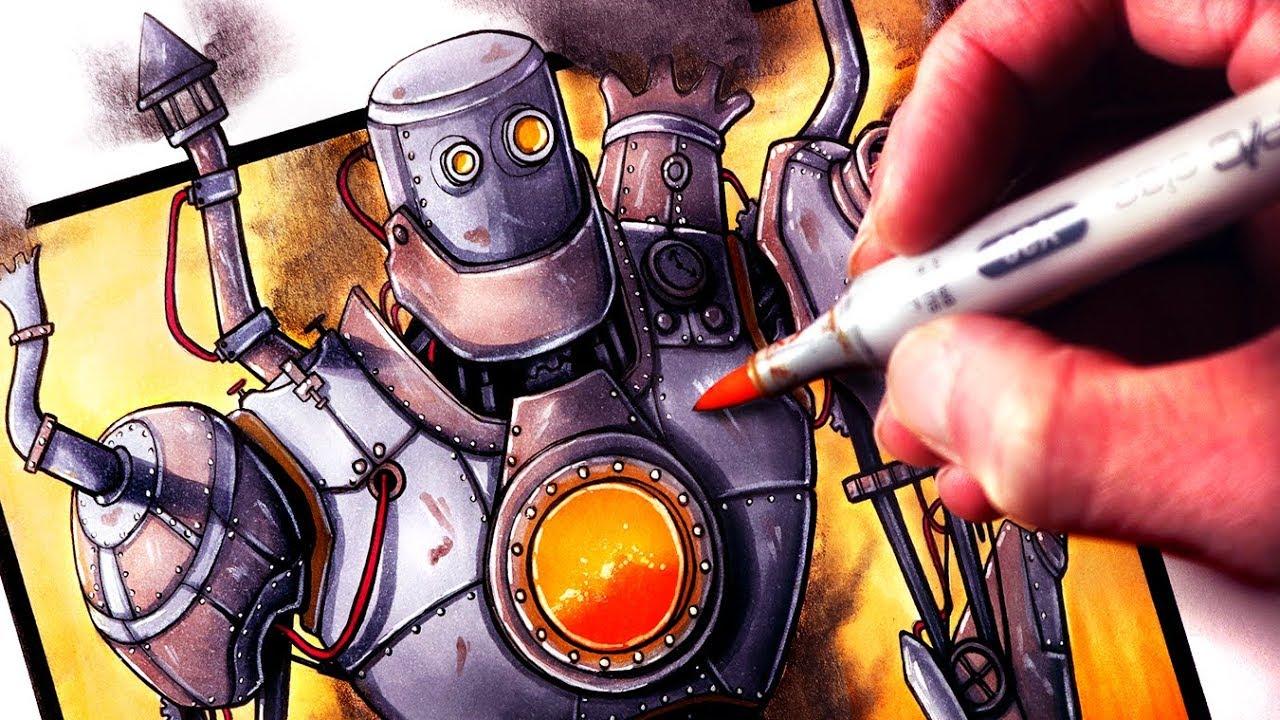 dibujar robot steampunk