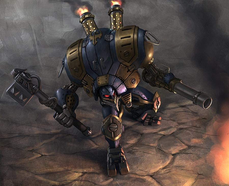 diseño ilustración robot temática steampunk
