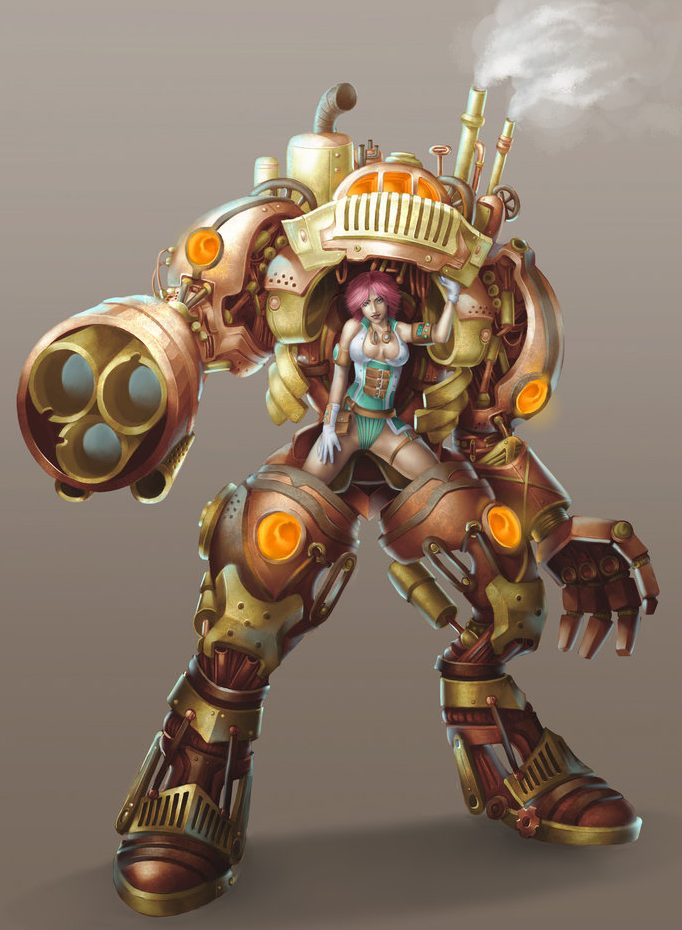 ilustración de robot steampunk