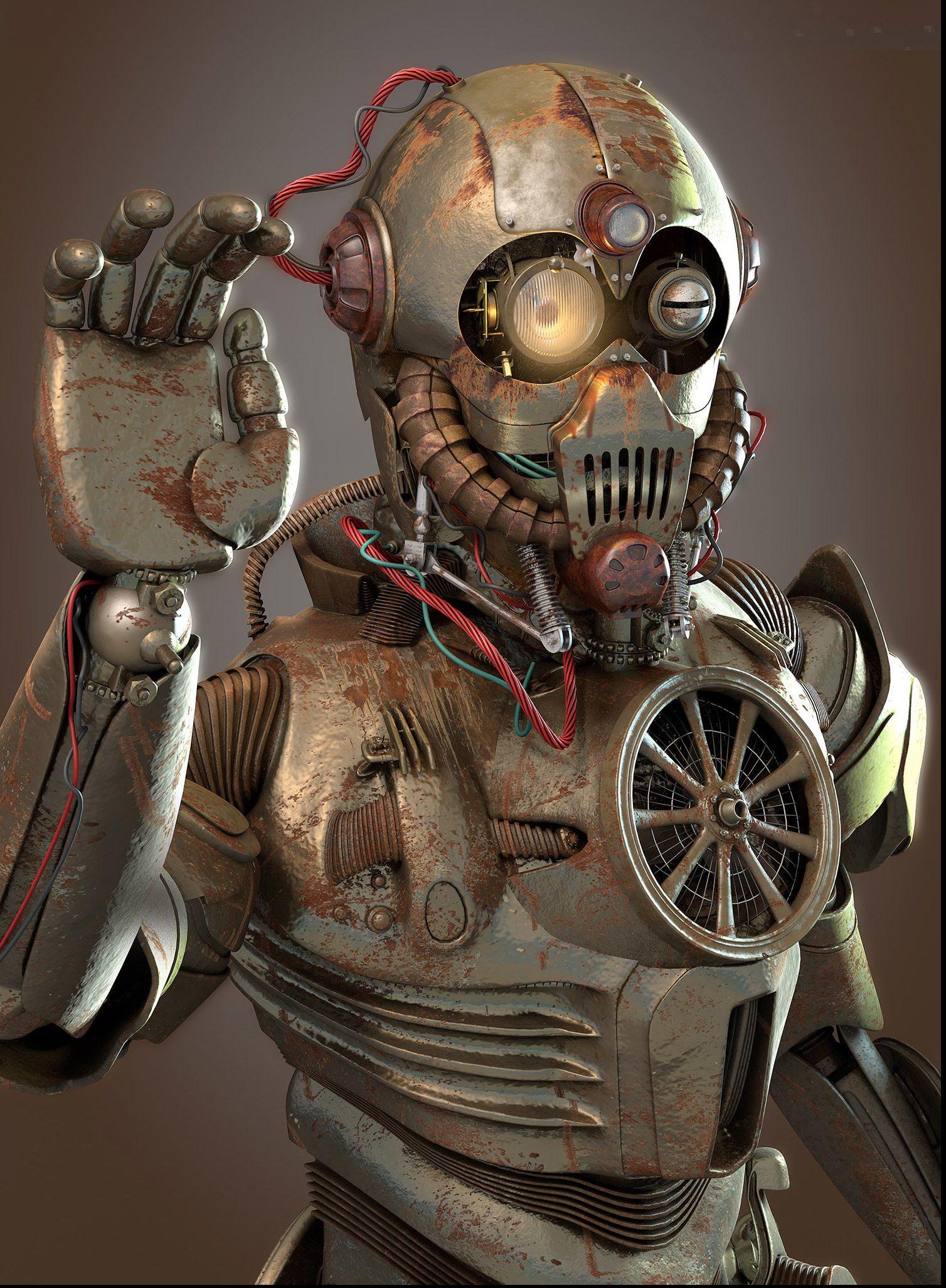 diseño asombroso robot steampunk