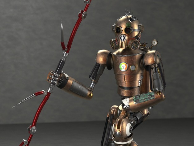 steampunk robot con arma