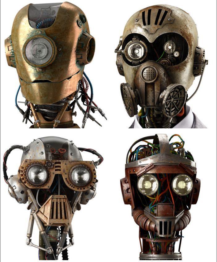 modelos de cabezas robot steampunk