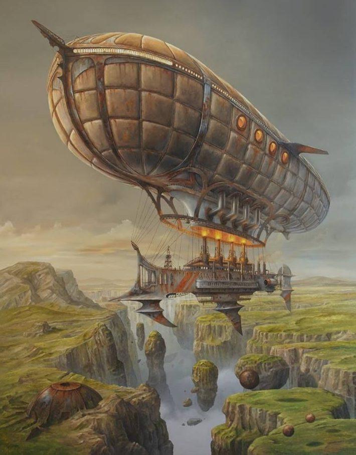 airship steampunk sobrevolando cascada