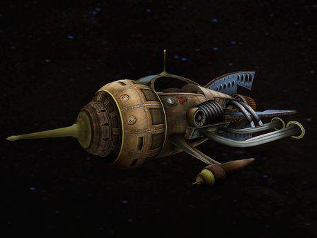 nave espacial estilo steampunk