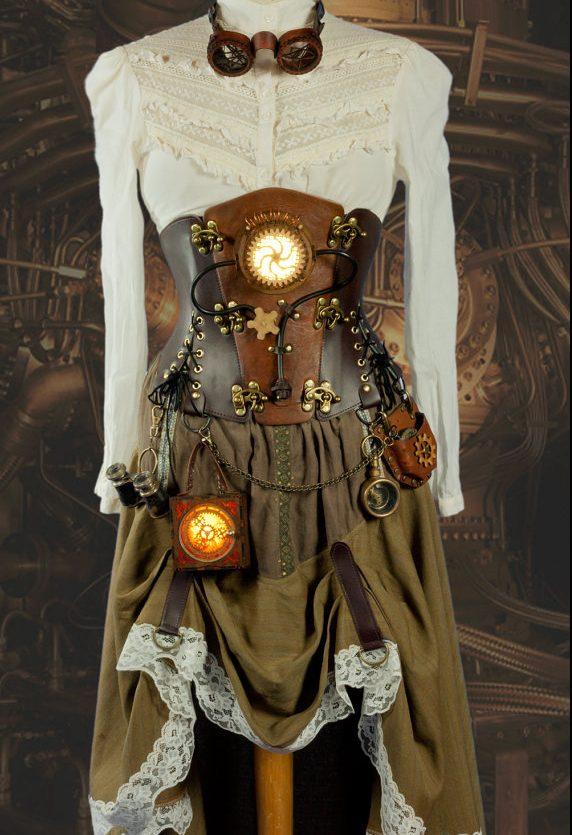 vestido único steampunk mujer