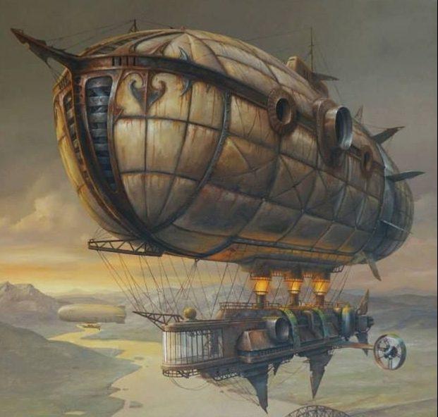 zeppelin steampunk ilustración