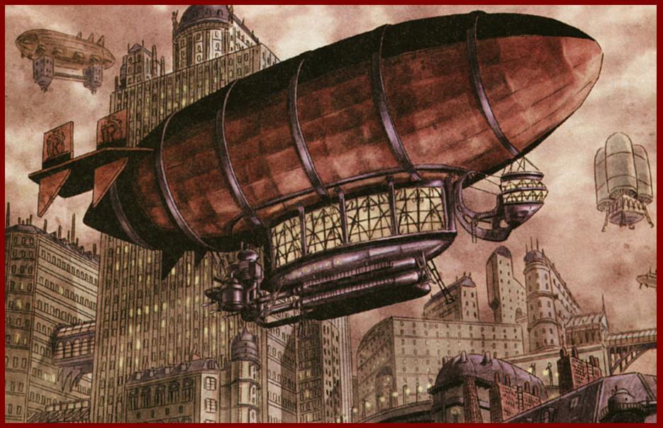 increíble ilustración zeppelin steampunk