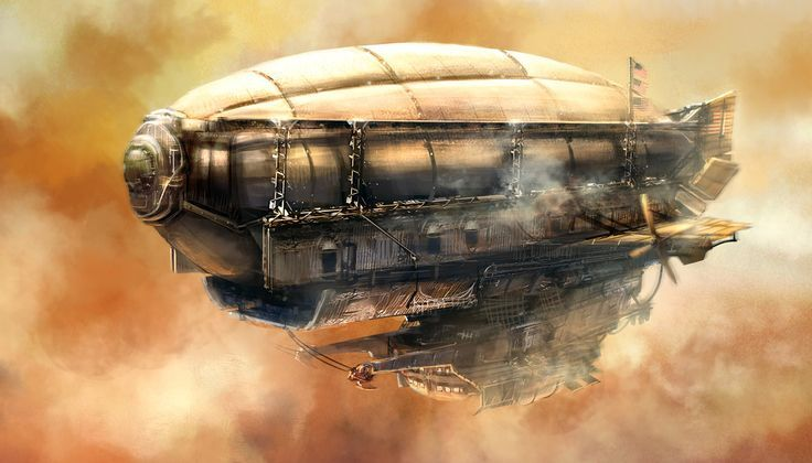 zeppelin steampunk ilustración original