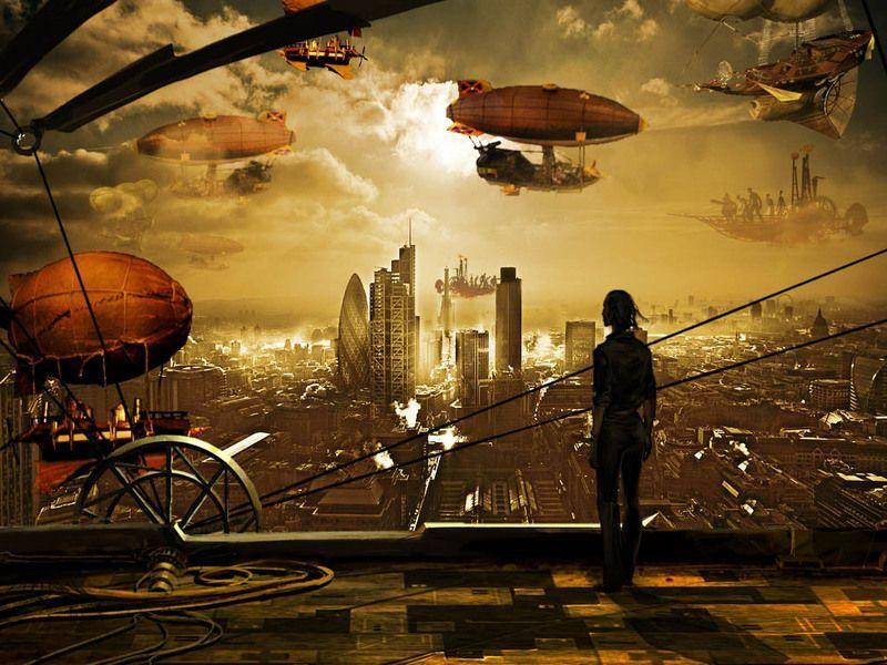 zeppelin sobrevolando mundo steampunk