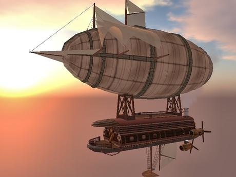 zeppelin steampunk atardecer